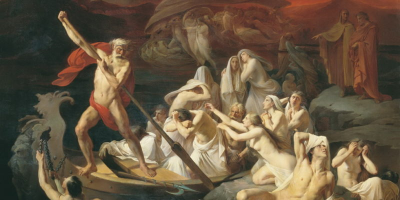 Charon faisant traverser le fleuve Styx par Alexander Dmitrievich Litovchenko (1835 - 1890) - musée de St Petersbourg - Mythologie romaine Voyage